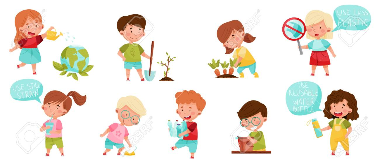 Kid Characters Gathering Plastic Bottles and Planting Vector Set - 154694325