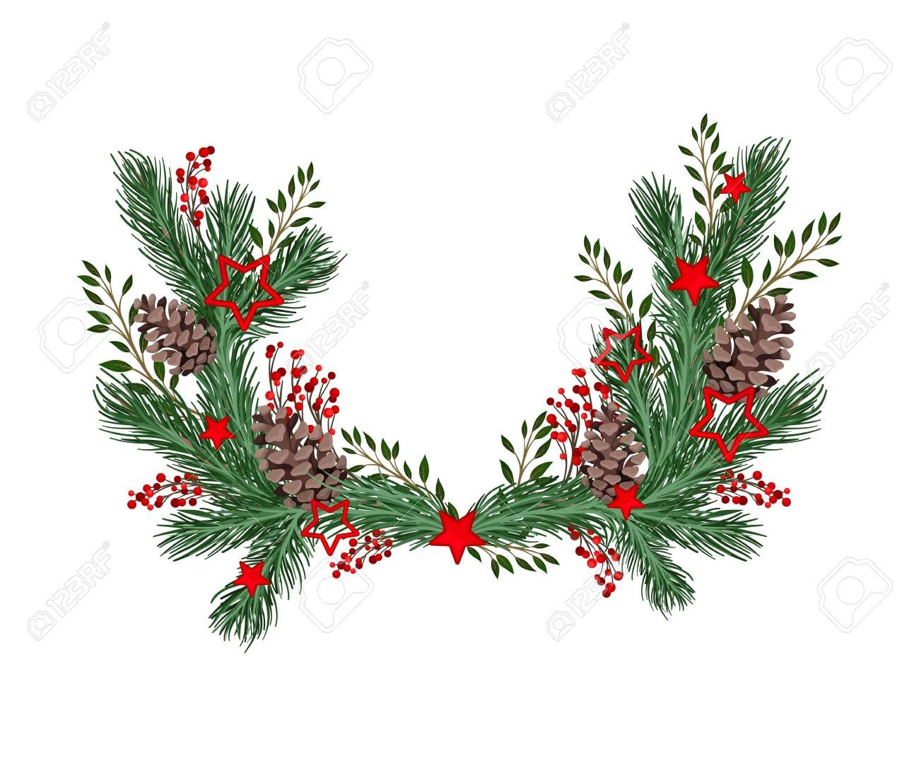 Coniferous Branches Arranged with Berry Twigs and Fir Cones Semicircular Vector Illustration - 156557198