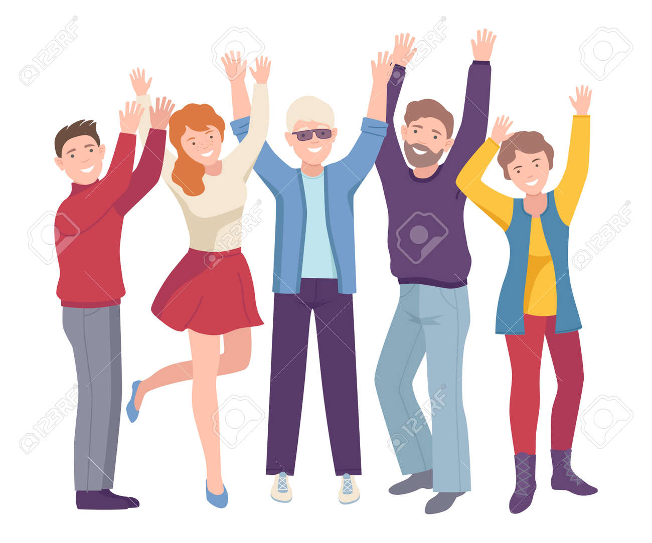 Group of Joyful People Characters Up with Hands Cheering About Something Vector Illustration - 165428495