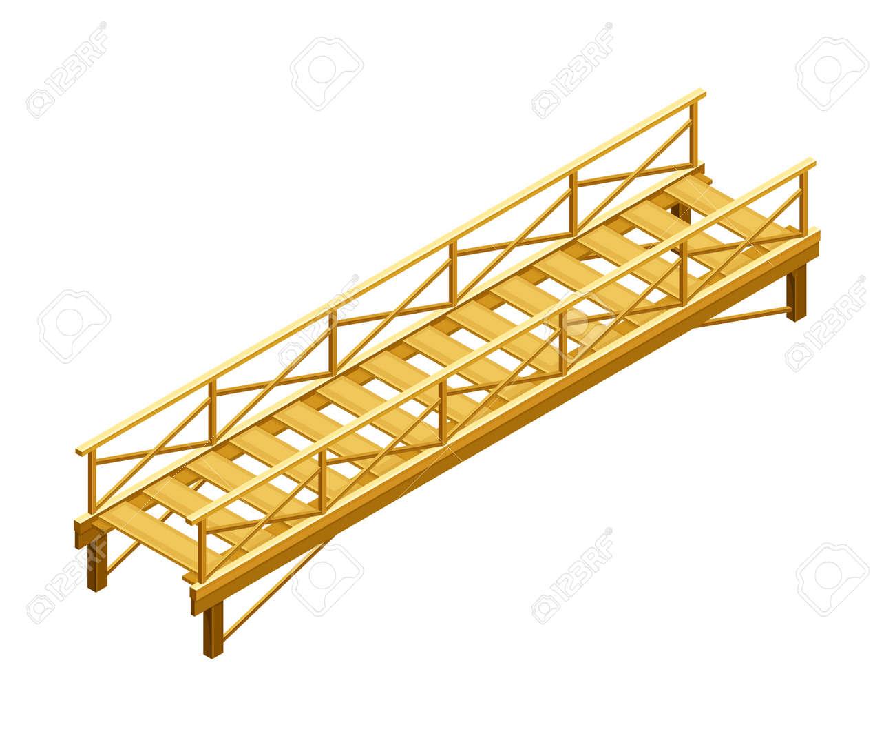 Straight Wooden Bridge with Balustrade Railing Vector Illustration - 167912217