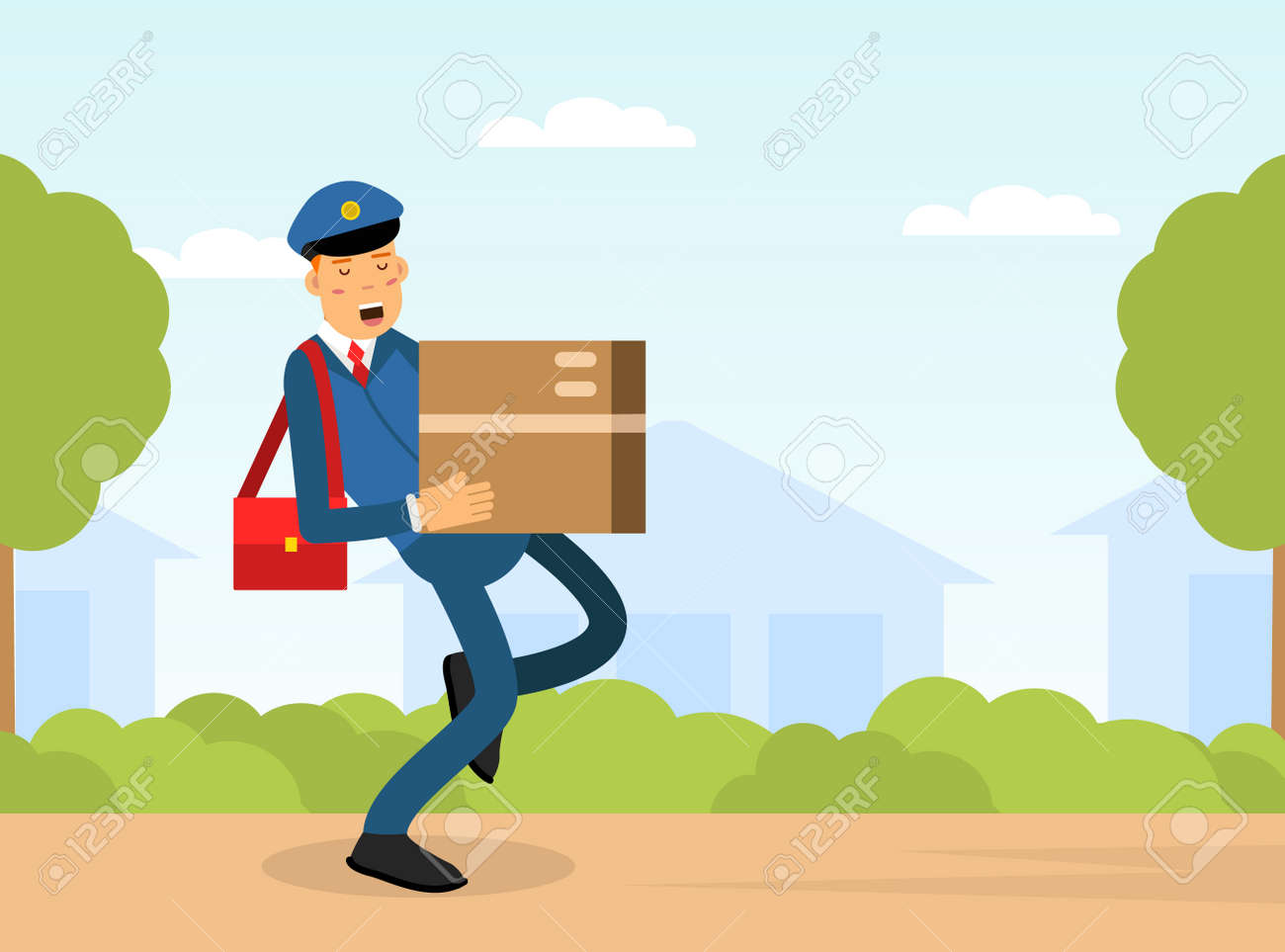 Mail Carrier or Mailman as Employee of Postal Service Delivering Mail and Parcel to Residence Vector Illustration - 169216393