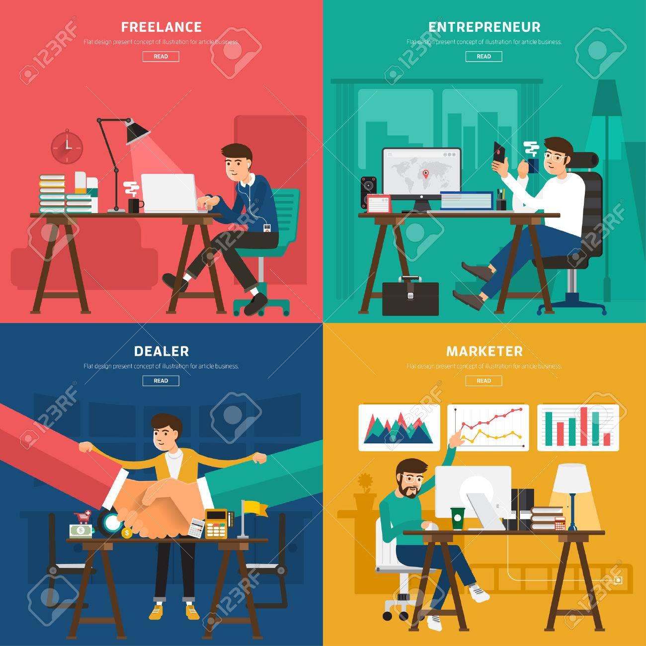 Flat design concept co working center for worker freelance, entrepreneur, dealer, and marketer. Illustrate for banner and article design - 38200263