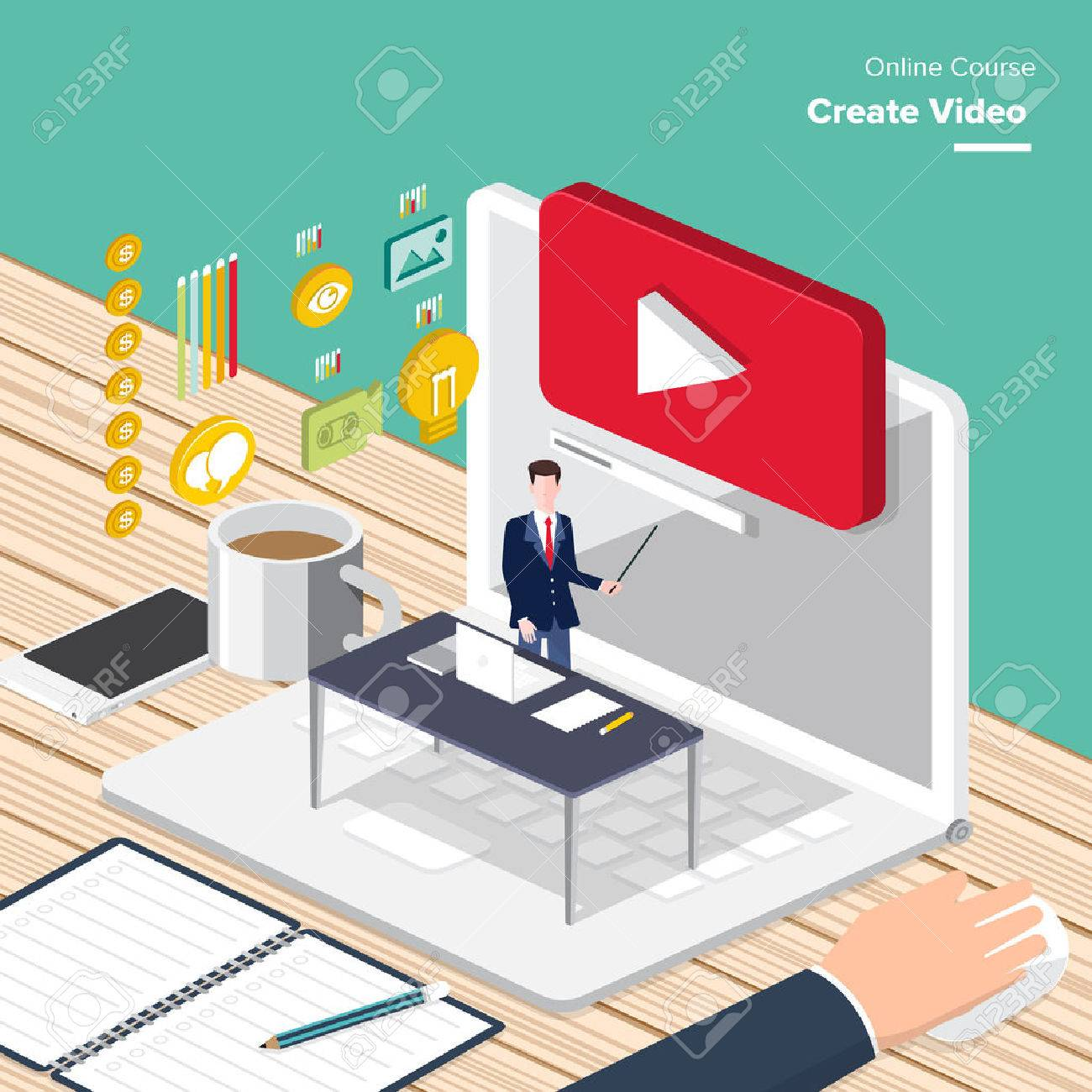 Vector e-learning concept create video in flat style digital content and online webinar how to make money with video. - 52726671