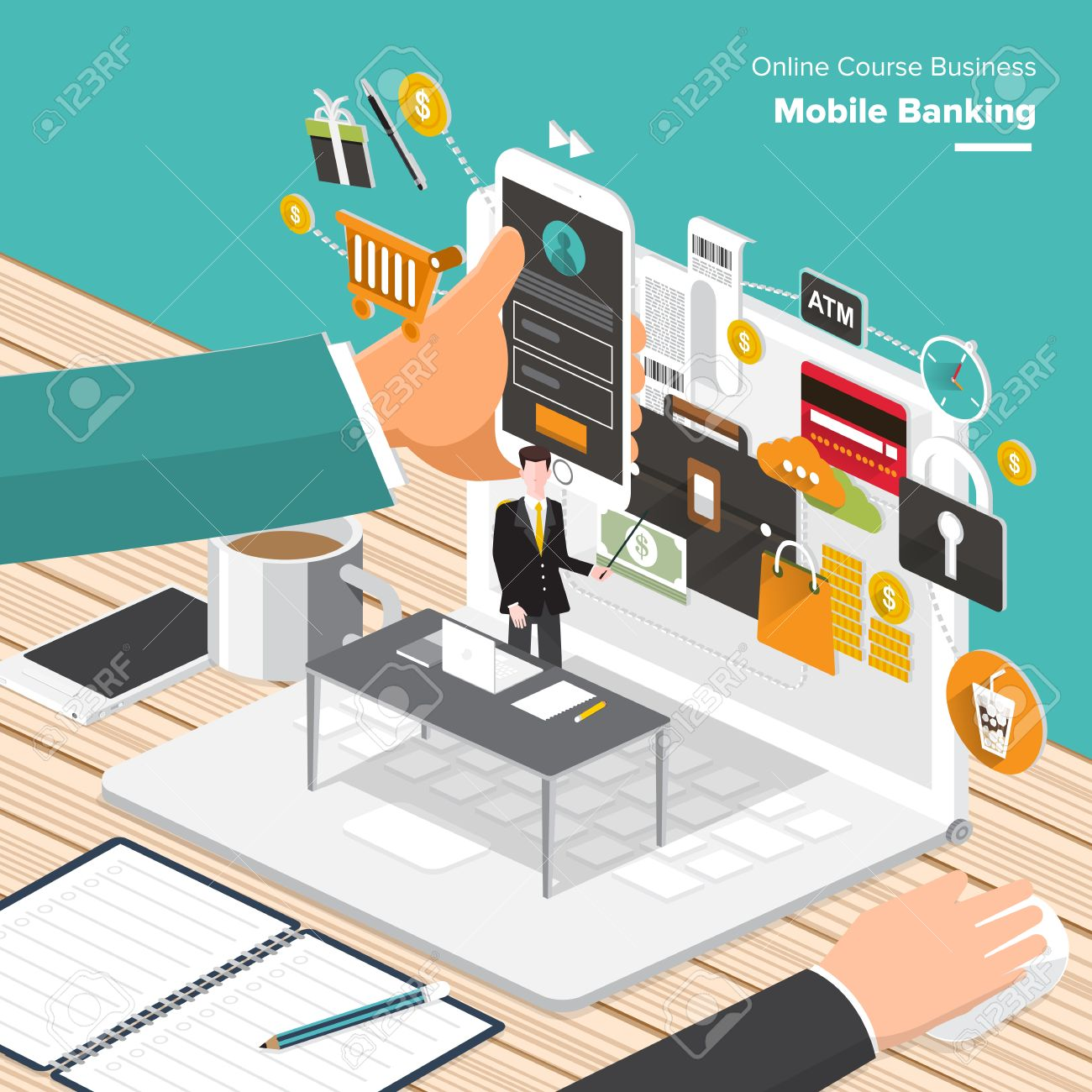 Isometric Flat Design Concepts Fo R Content Marketing Finding Target Of Market Mobile Banking