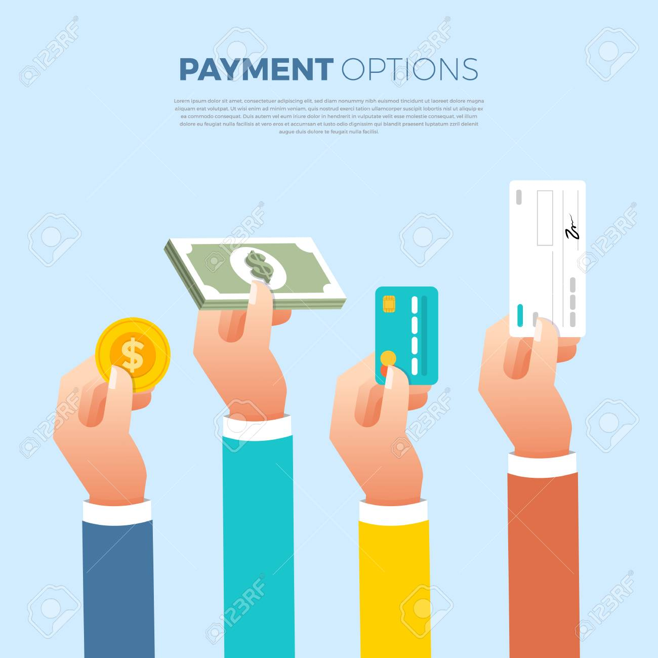 Flat design concept payment. Payment method and option or channel to transfer money. Vector illustrate. - 97939388
