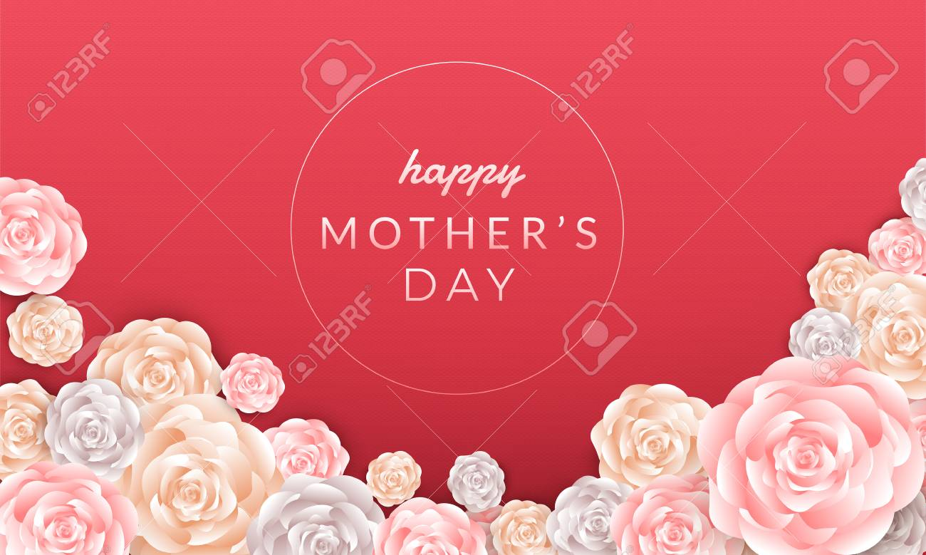 Happy mother's day layout design with roses, lettering, paper cut and texture background. Vector illustration. - 102336624