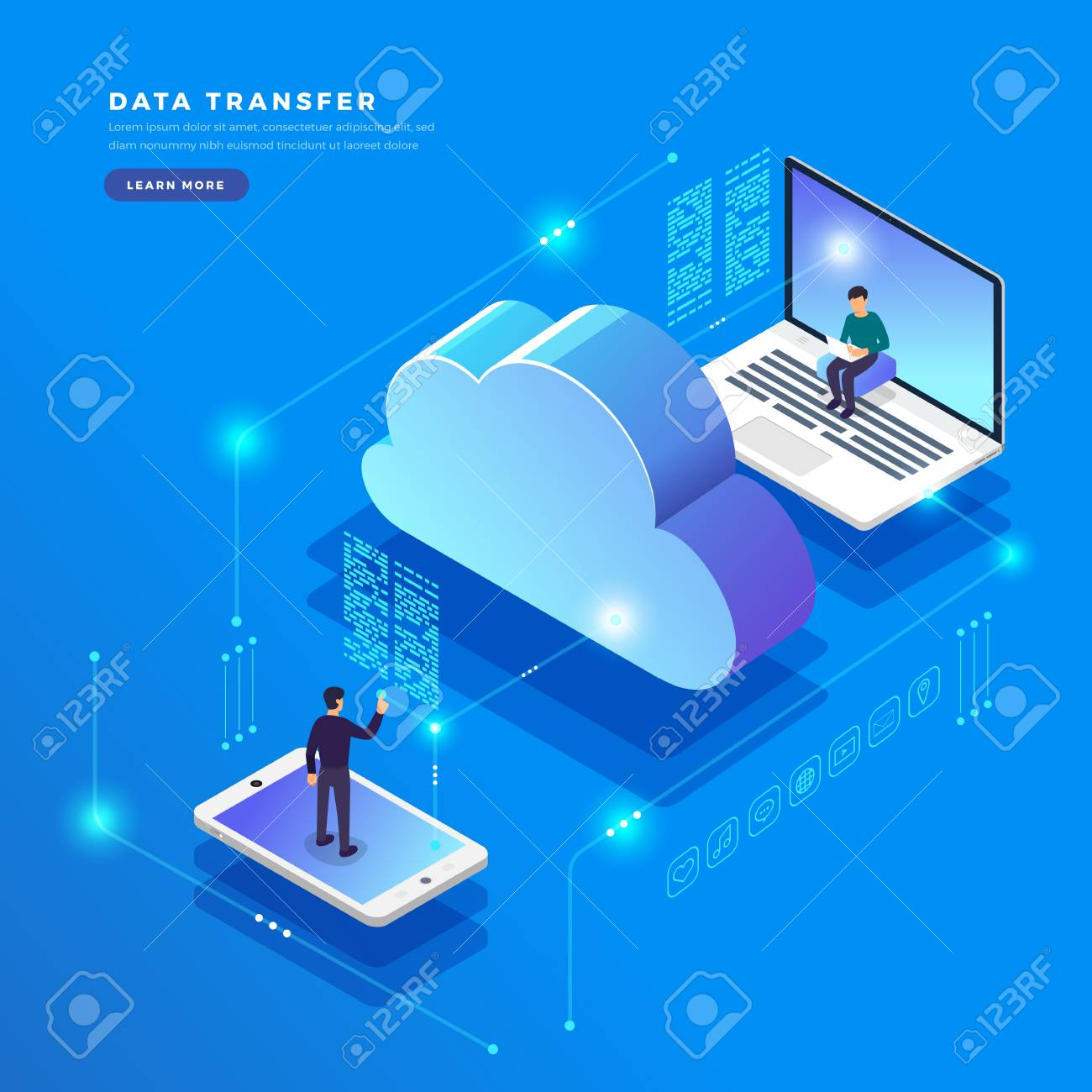 Isometric flat design concept cloud technology data transfer and storage. Connecting information. Vector illustrations. - 102337023