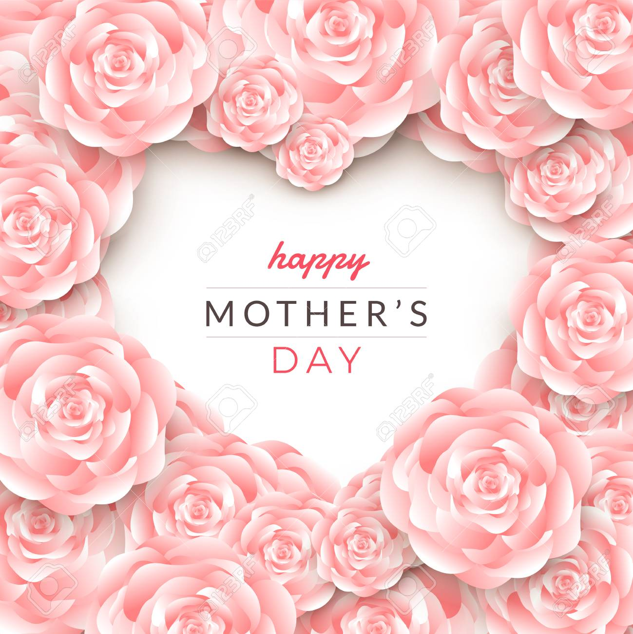 Happy mother's day layout design with roses, lettering, paper cut and texture background. Vector illustration. - 102336717