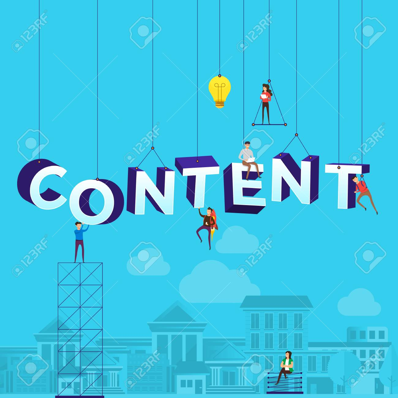 """Flat design concept small people working typography word """"CONTENT"""". Vector illustrate. - 102336736"""