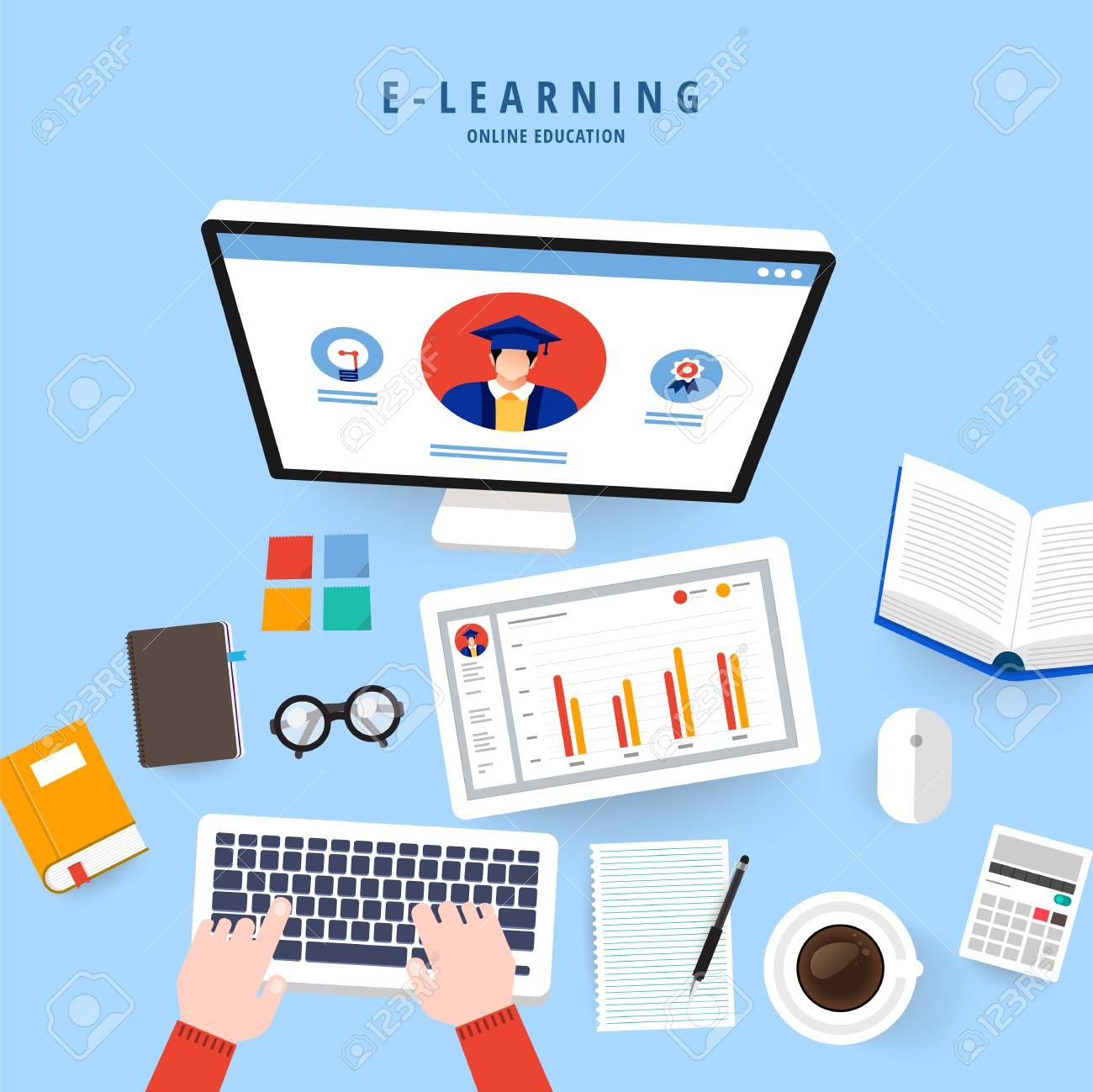 Flat Design Concept People Education Online Knowledge Witgh E Learning Royalty Free Cliparts Vectors And Stock Illustration Image 114861334