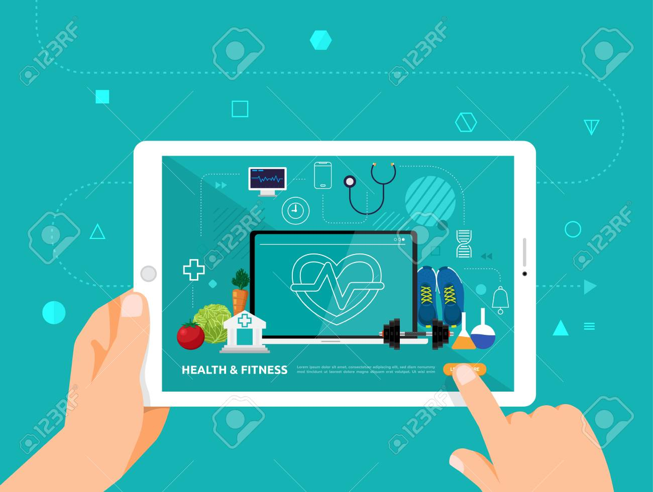 Illustrations design concpt e-learning with hand click on tablet online course health and fitness. Vector illustrate. - 114917918