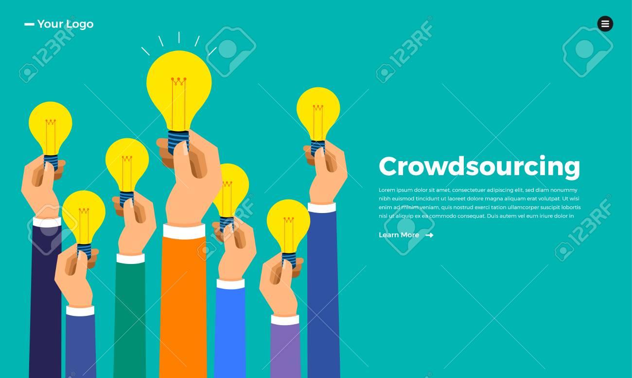 Flat design concept crowdsourcing. Vector illustrate. - 114917926