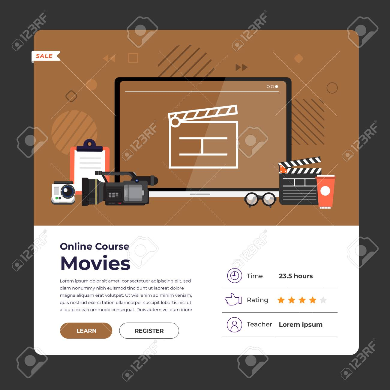 Mockup design landing page website education online course movie