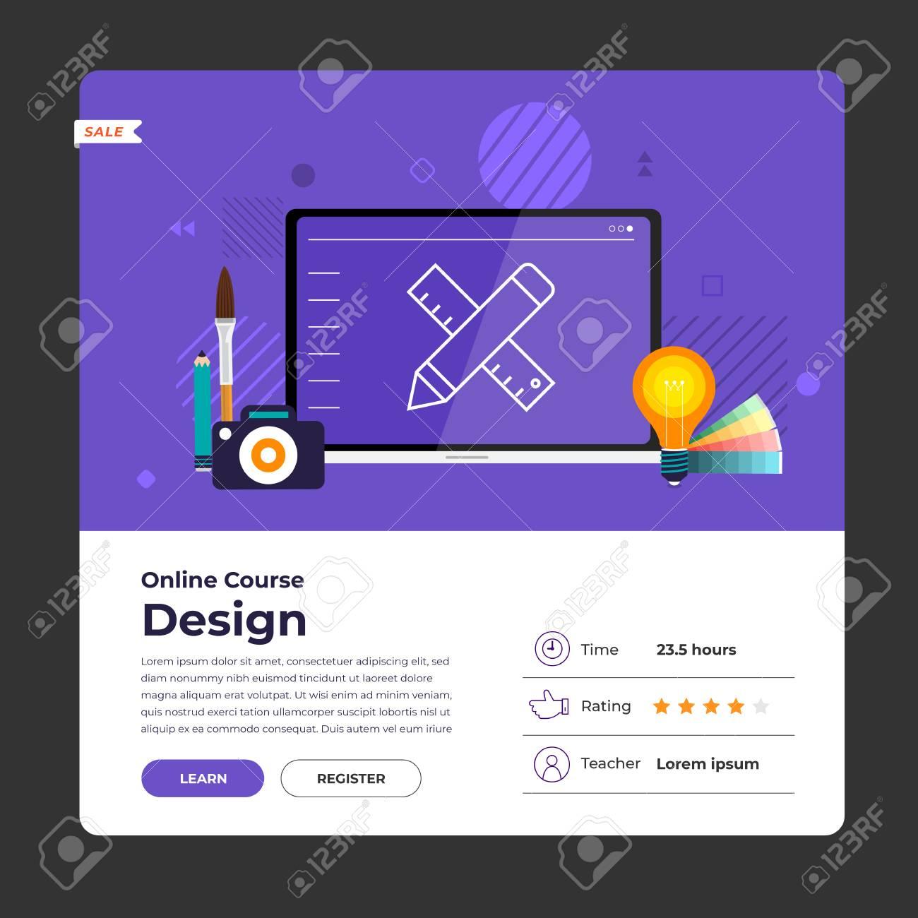 Mockup design landing page website education online course graphic