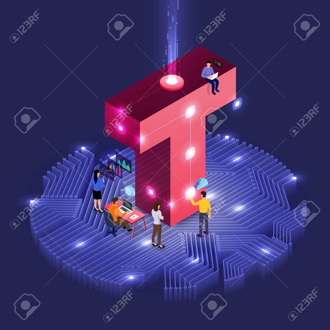 Business concept teamwork of peoples working development isometric alphabet type. Design for bold company name T. Vector illustrations. - 114861374