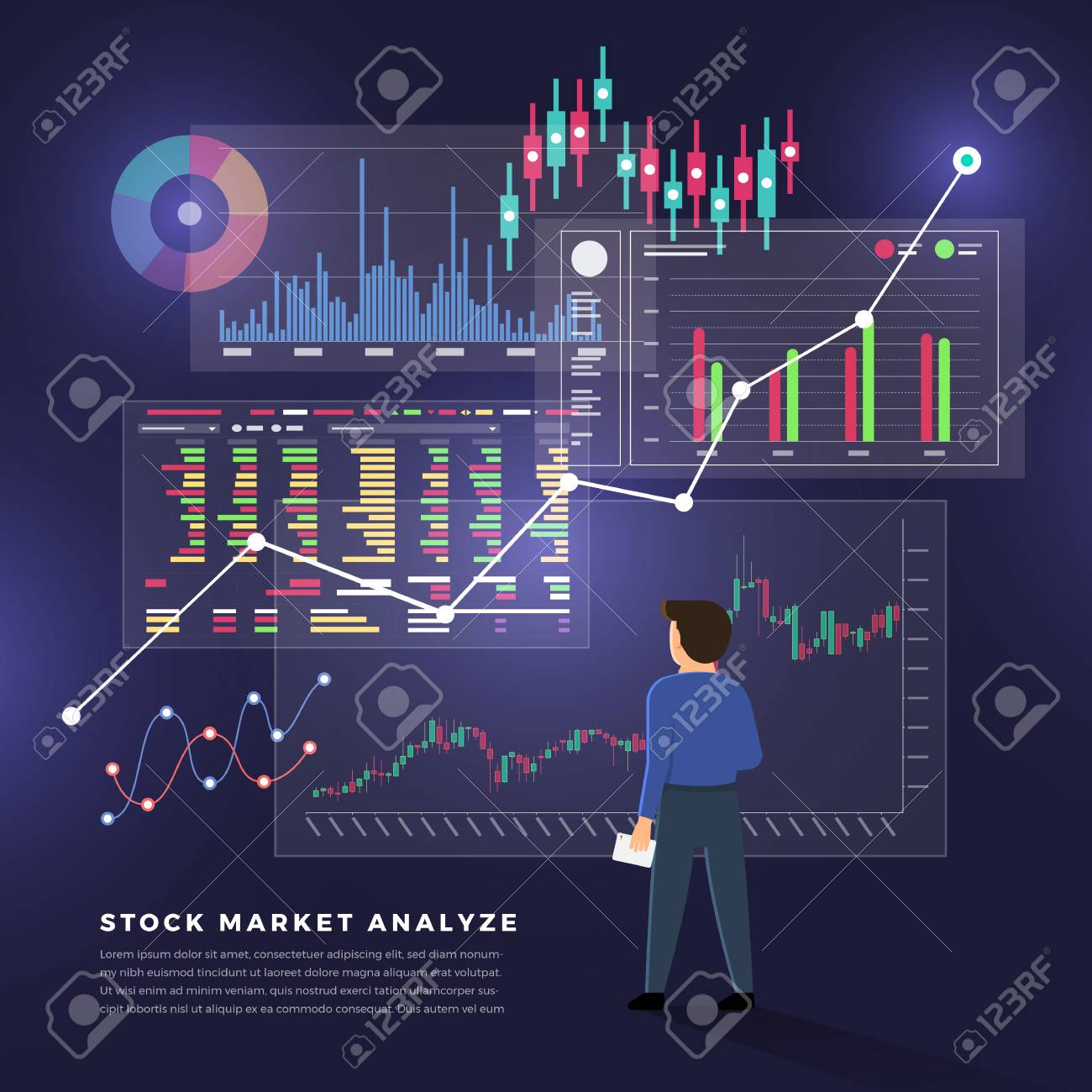Flat design concept stock exchang and trader. Financial market business with graph chart analysis. Vector illustrations. - 105052985