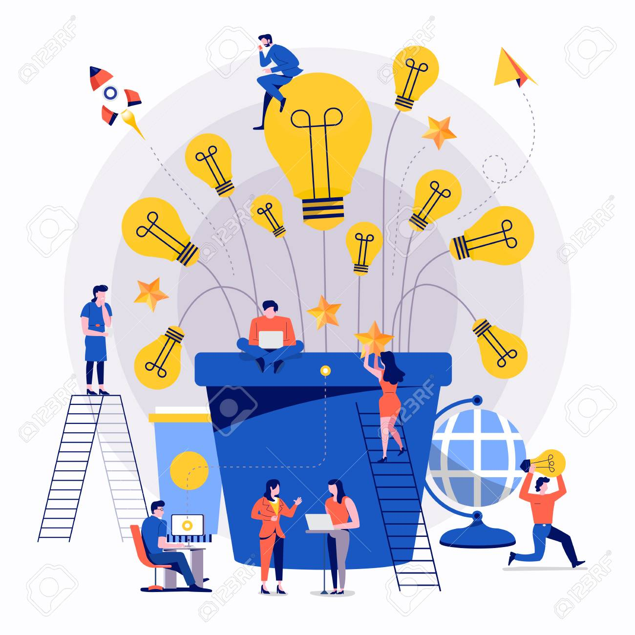Illustrations flat design concept teamwork small people businessman working together for building success creative idea advertising. Vector illustrate. - 112266425