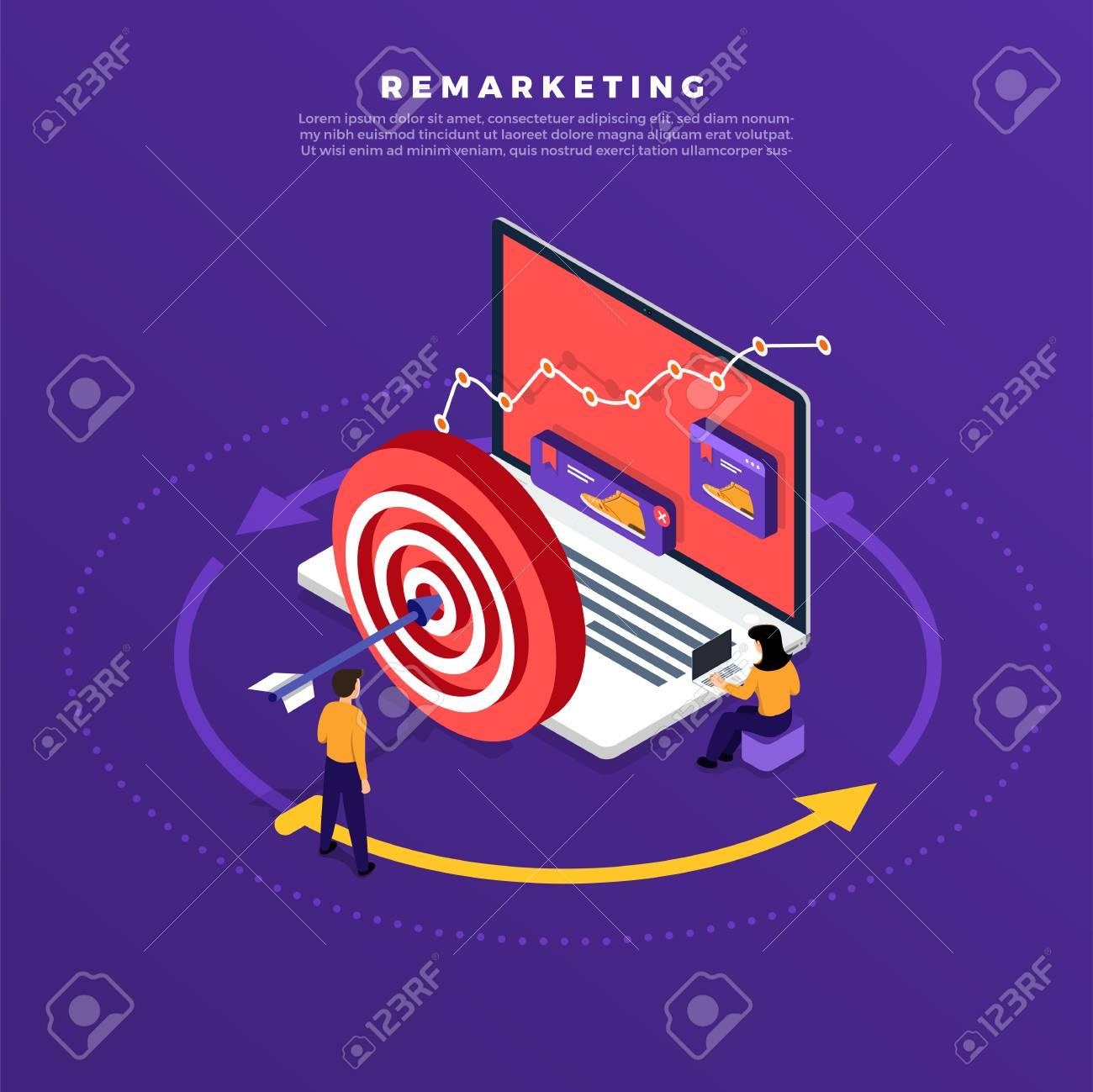 Isometric flat design concept digital marketing retargeting or remarketing. online banner ad network. Vector illustrations. - 105743165
