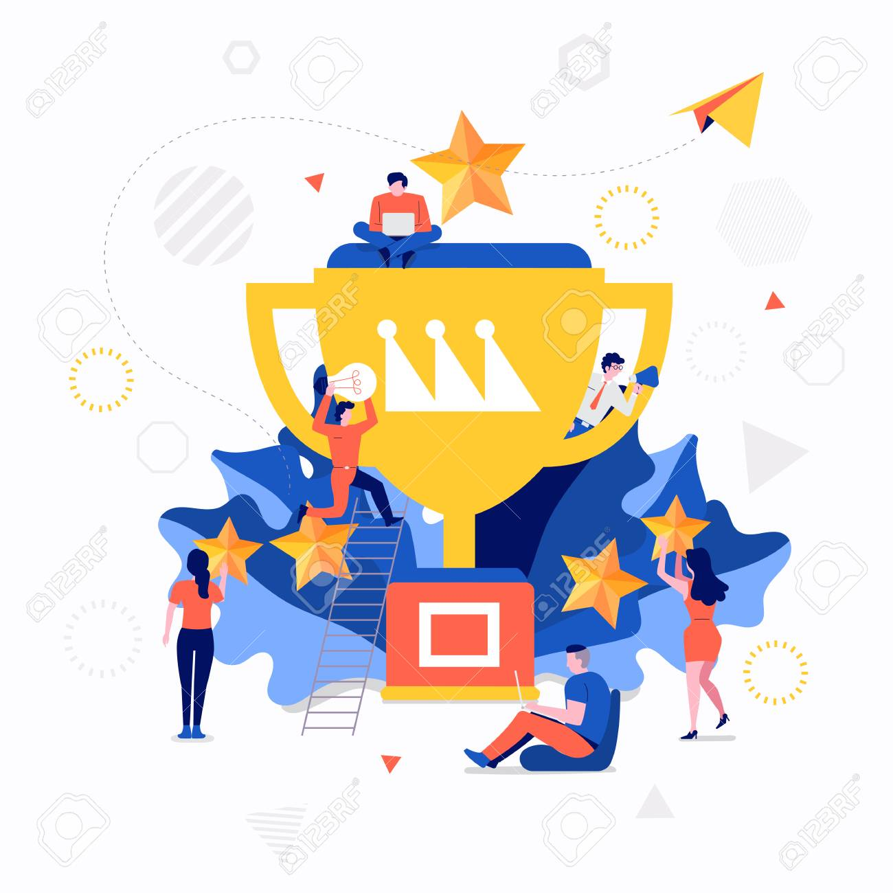 Illustrations flat design concept small people working together create big icon about business success. Vector illustrate. - 110250259