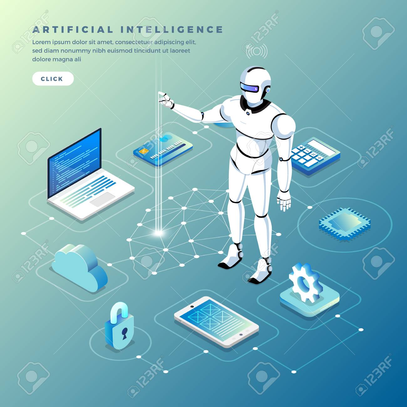 Illustrations concept artificial intelligence AI. Technology working with smart brain computer and machine connecting device. Isometric vector illustrate. - 107941748