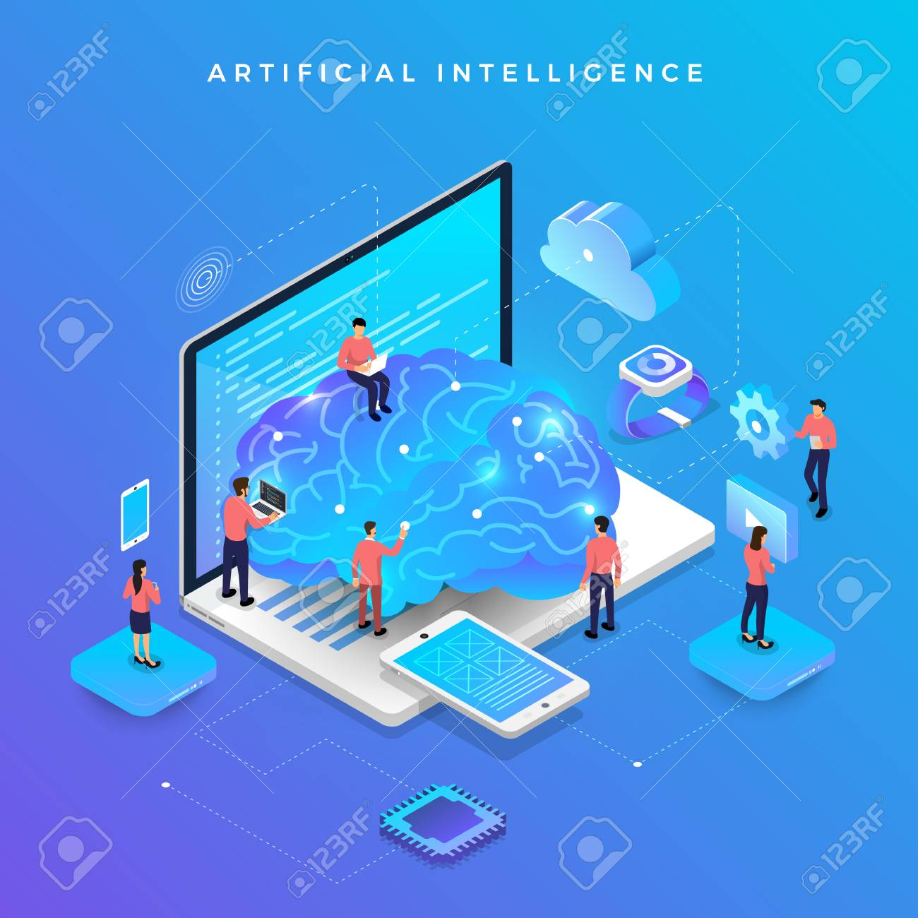 Illustrations concept artificial intelligence AI. Technology working with smart brain computer and machine connecting device. Isometric vector illustrate. - 107941754