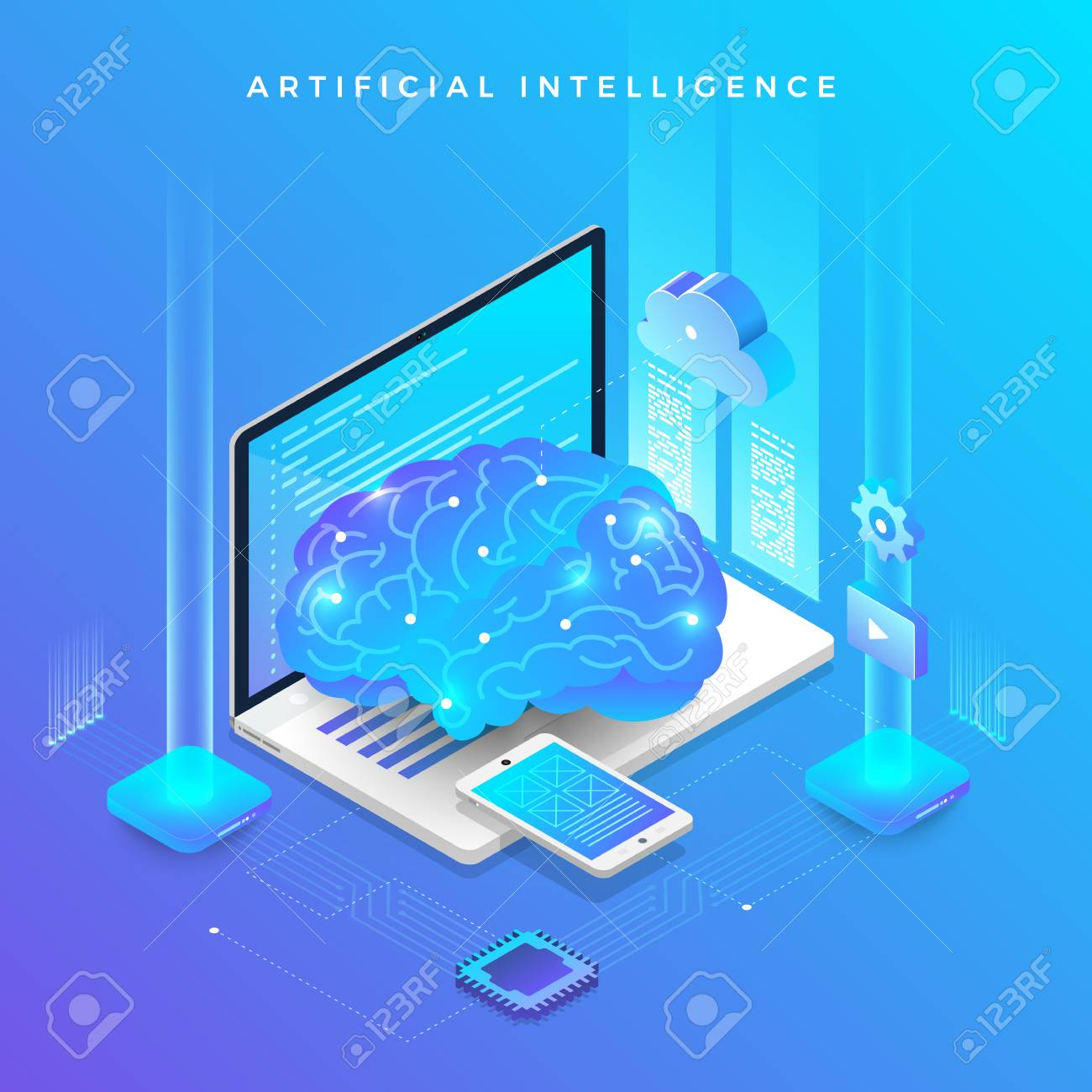 Illustrations concept artificial intelligence AI. Technology working with smart brain computer and machine connecting device. Isometric vector illustrate. - 107940572