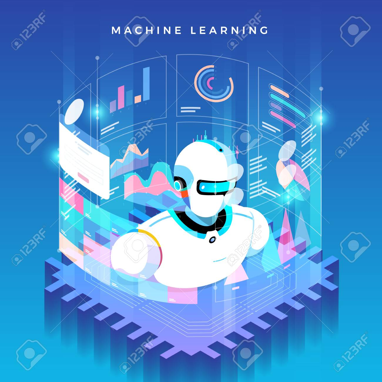 Illustrations concept machine learning via artificial intelligence with technology analysis data and knowledge . Vector isometric illustrate. - 107940575