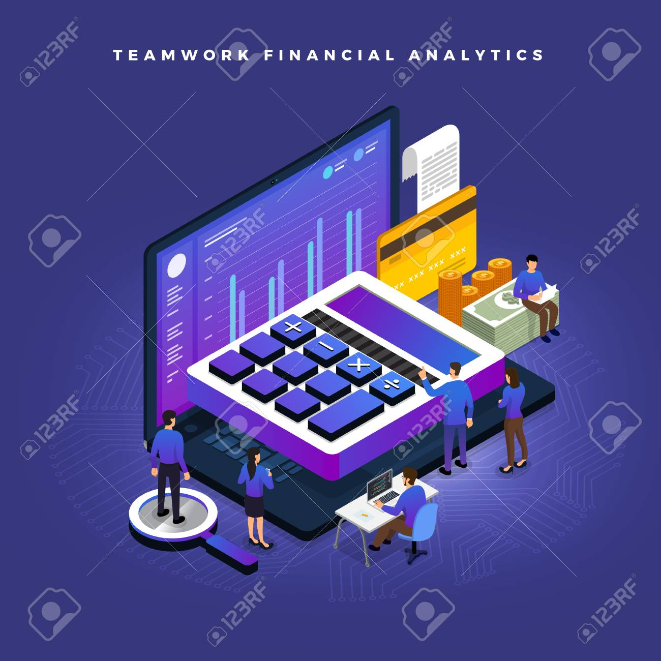 Business concept teamwork of peoples working development isometric financial business via calculator and money. Vector illustrations. - 110250290
