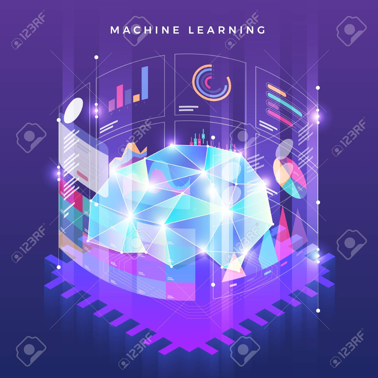 Illustrations Concept Machine Learning Via Artificial Intelligence