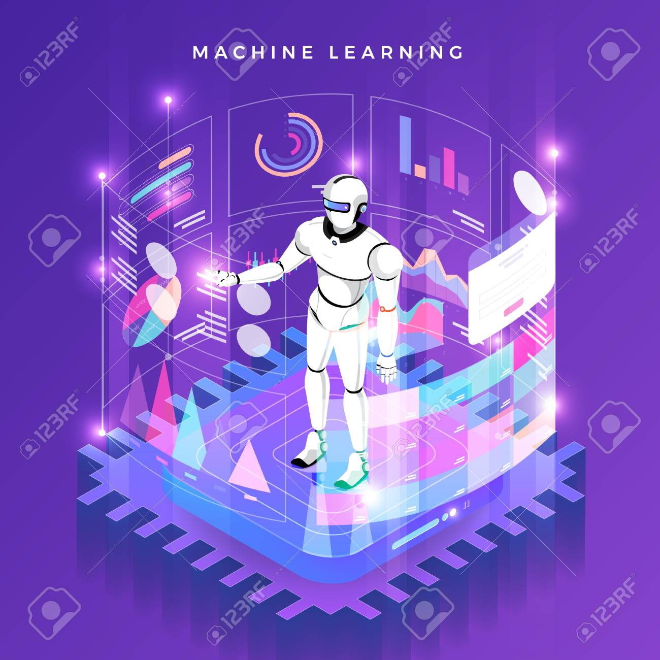 Illustrations concept machine learning via artificial intelligence with technology analysis data and knowledge . Vector isometric illustrate. - 107940537