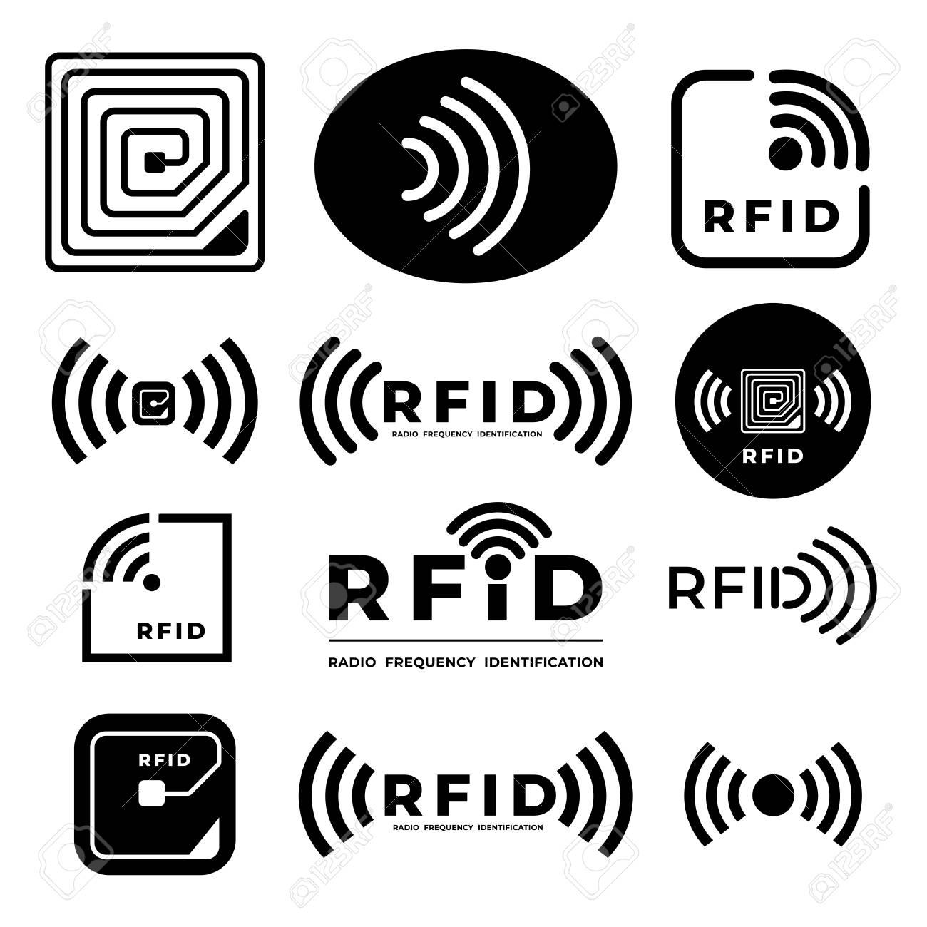 Vector set icon symbol concept RFID. radio frequency identification. illustrations - 116147470