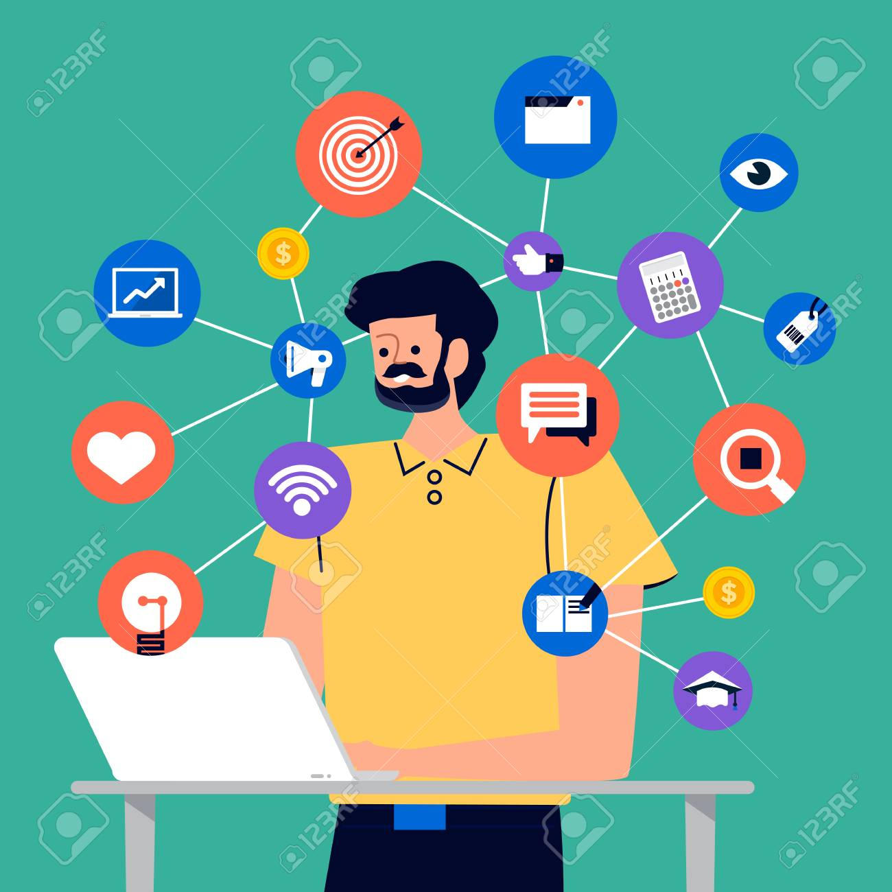 Set of cartoon peoples using internet device like smartphone and laptop with digital lifestyle action. Vector illustrations. - 125935570