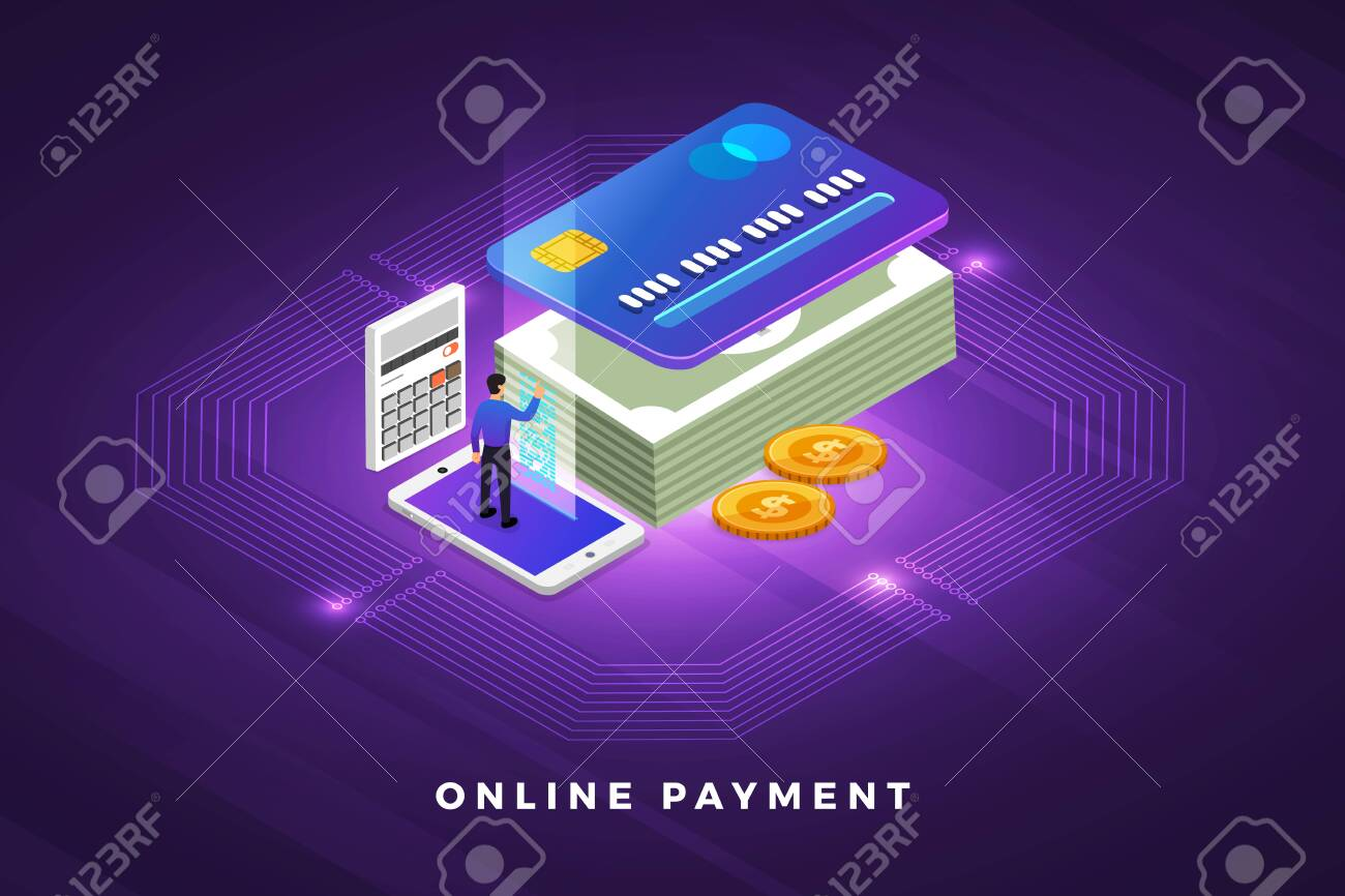 Isometric illustrations design concept technology solution on top with online payment. Gradient background and digital graph chart thin line. Vector illustrate. - 119684182