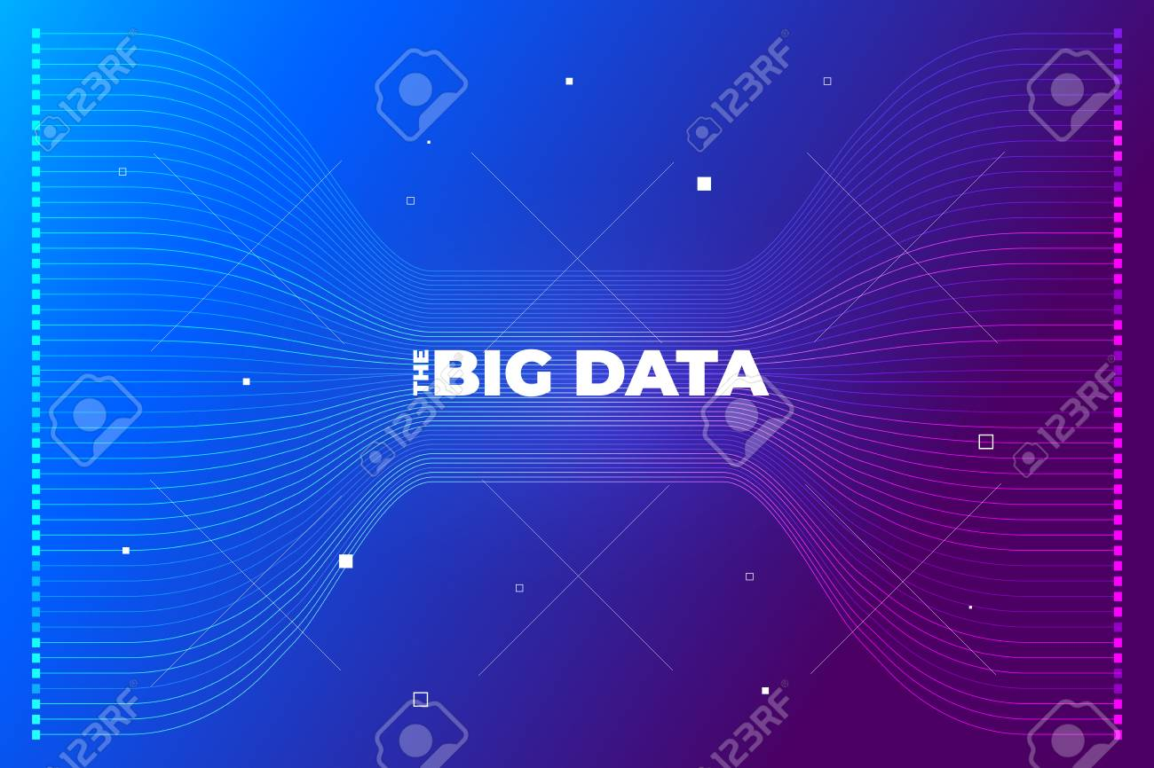 Big data visualization. Visual data complexity analytics. Concept design infographic. Information line graphic representation. Abstract data graph. Vector Illustration - 119684330