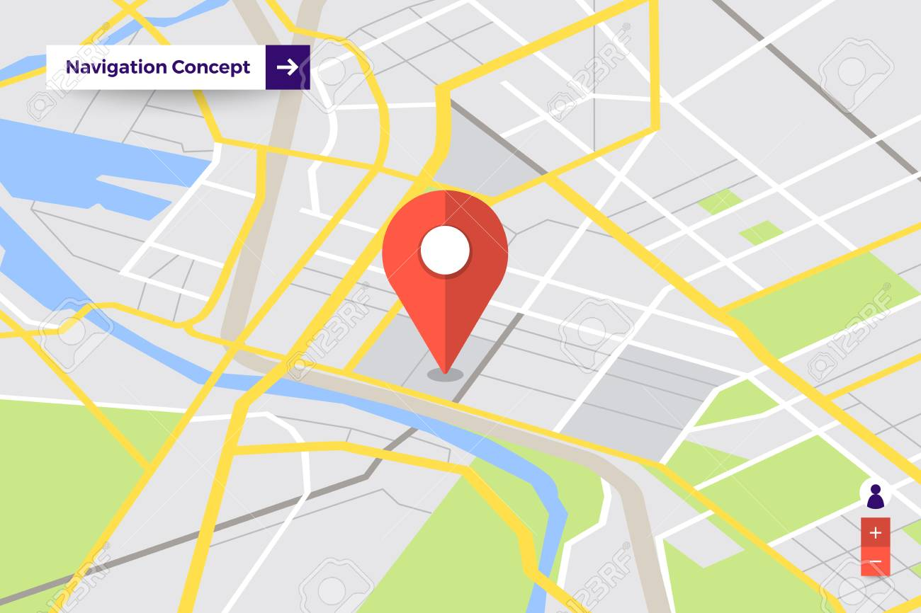 Illustrations Design Concept Location Maps With Road Follow Route