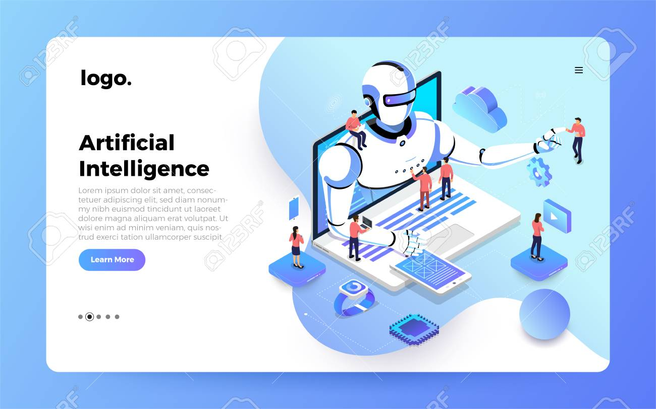 Illustrations concept artificial intelligence AI. Technology working with smart brain computer and machine connecting device. Isometric vector illustrate. Website design landing page mockup. - 119684383