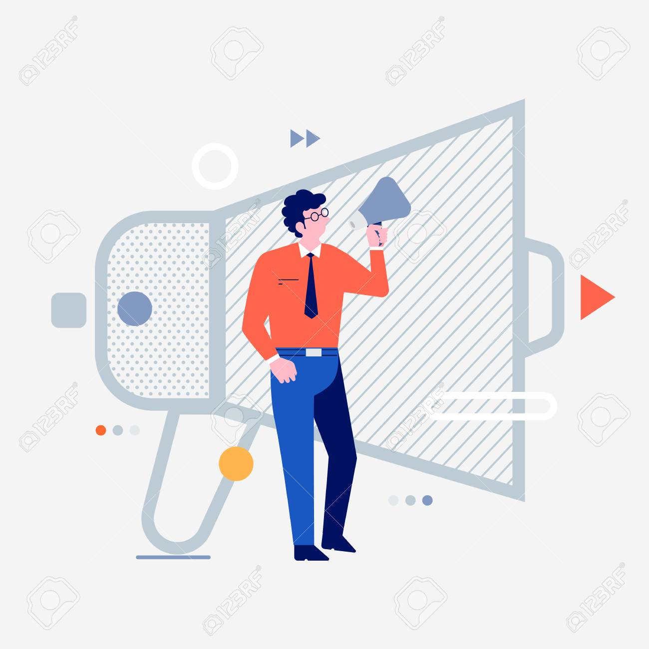 Cartoon peoples using internet device like smartphone and laptop with digital lifestyle icon. Advertising mega phone. Vector illustrations. - 119684424