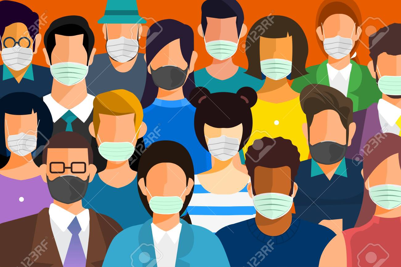 Illustrations concept coronavirus COVID-19. Many people wear masks to protect against germs. peopleVector illustrate. - 142899542