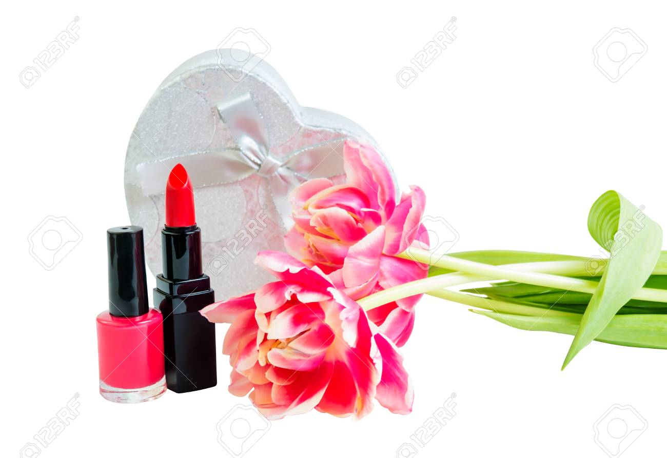 Red Lipstick, Nail Polish, Tulip Flowers And Silver Gift Box.. Stock ...