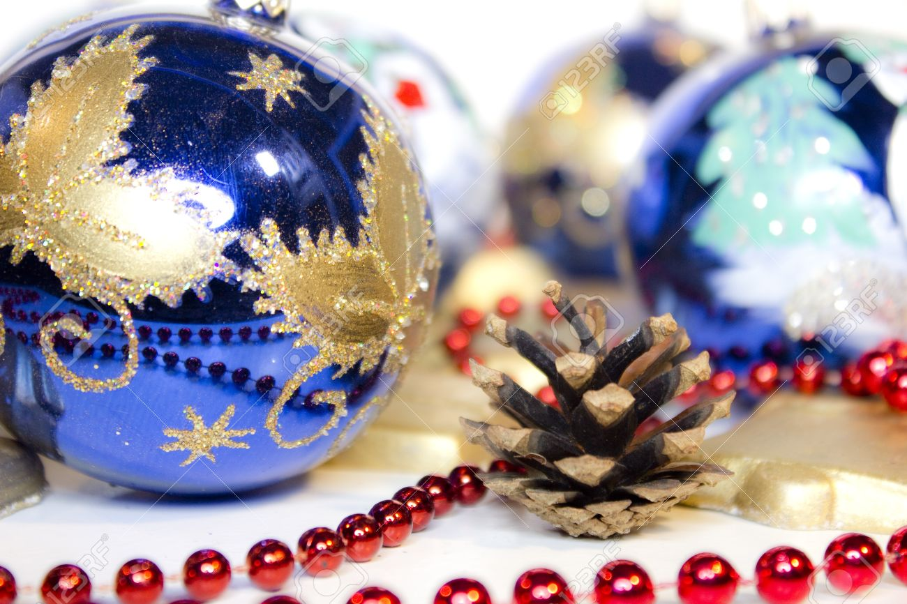 Hand Painted Christmas Balls Decorated With Ribbon And Christmas
