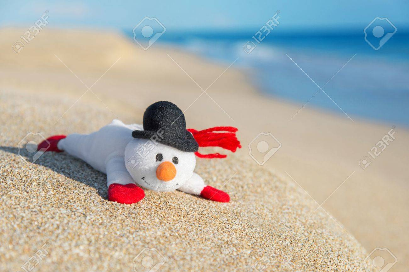 Beach Christmas Cards >> Smiley Toy Snowman At Sea Beach Holiday Concept For New Years