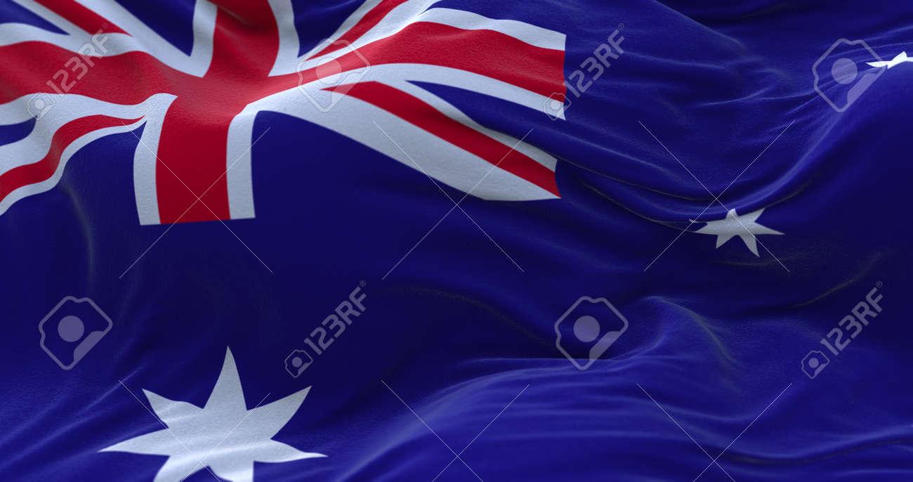 Australia flag waving in the wind. 3D rendering. - 158903032