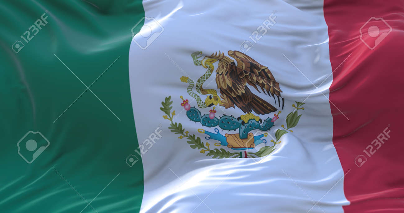 Mexico flag waving in the wind. 3D rendering. - 158903052