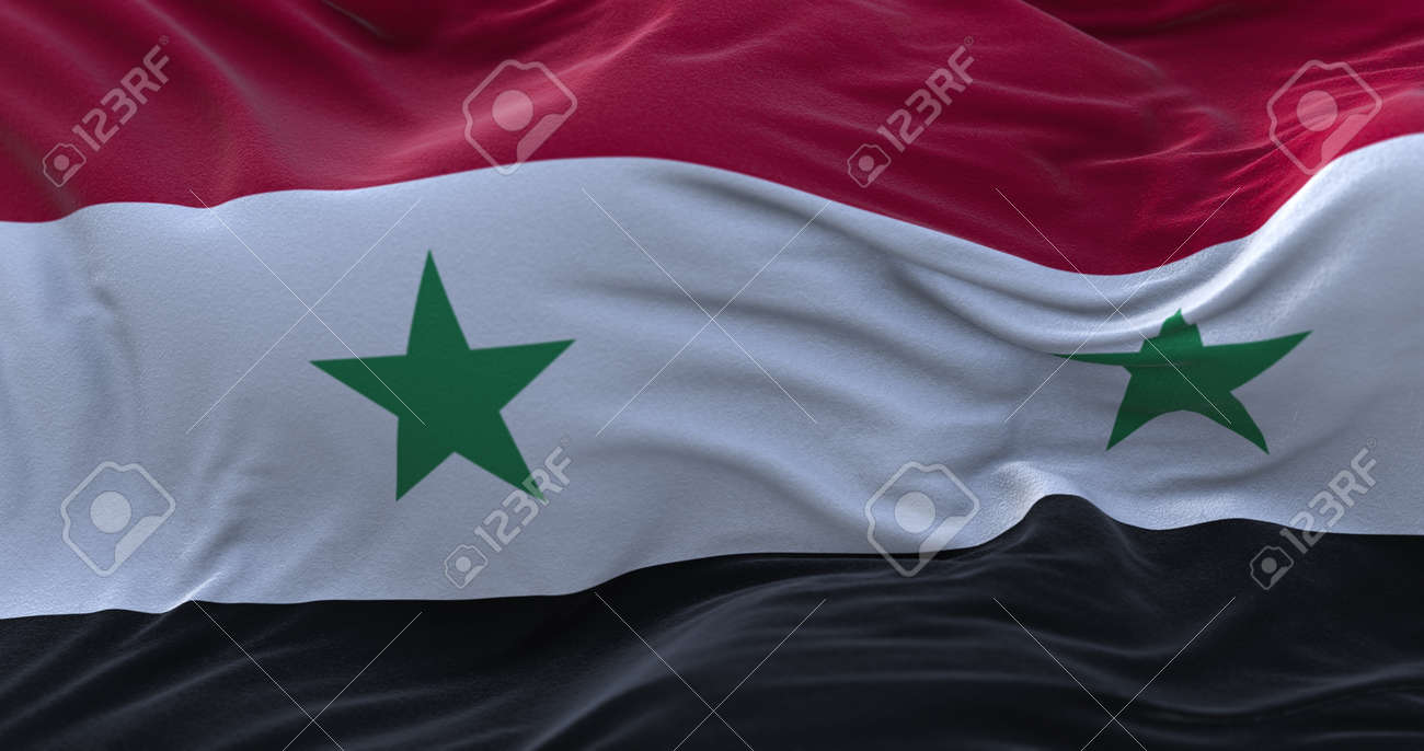 Syria flag waving in the wind. 3D rendering. - 158903065