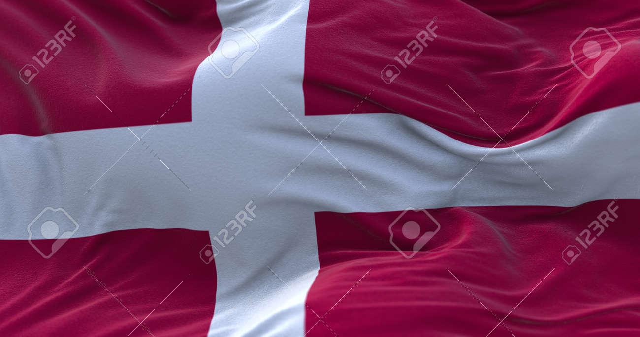 Denmark flag waving in the wind. 3D rendering. - 158903108