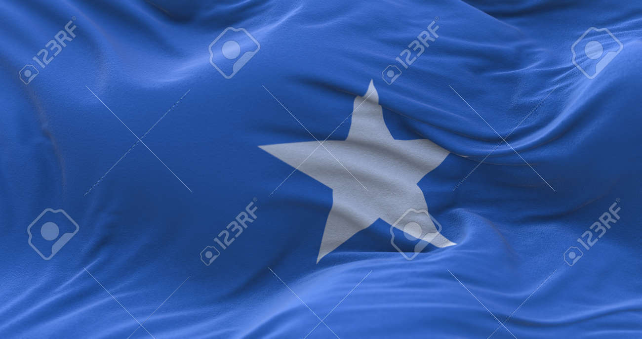 Somalia flag waving in the wind. 3D rendering. - 158903130