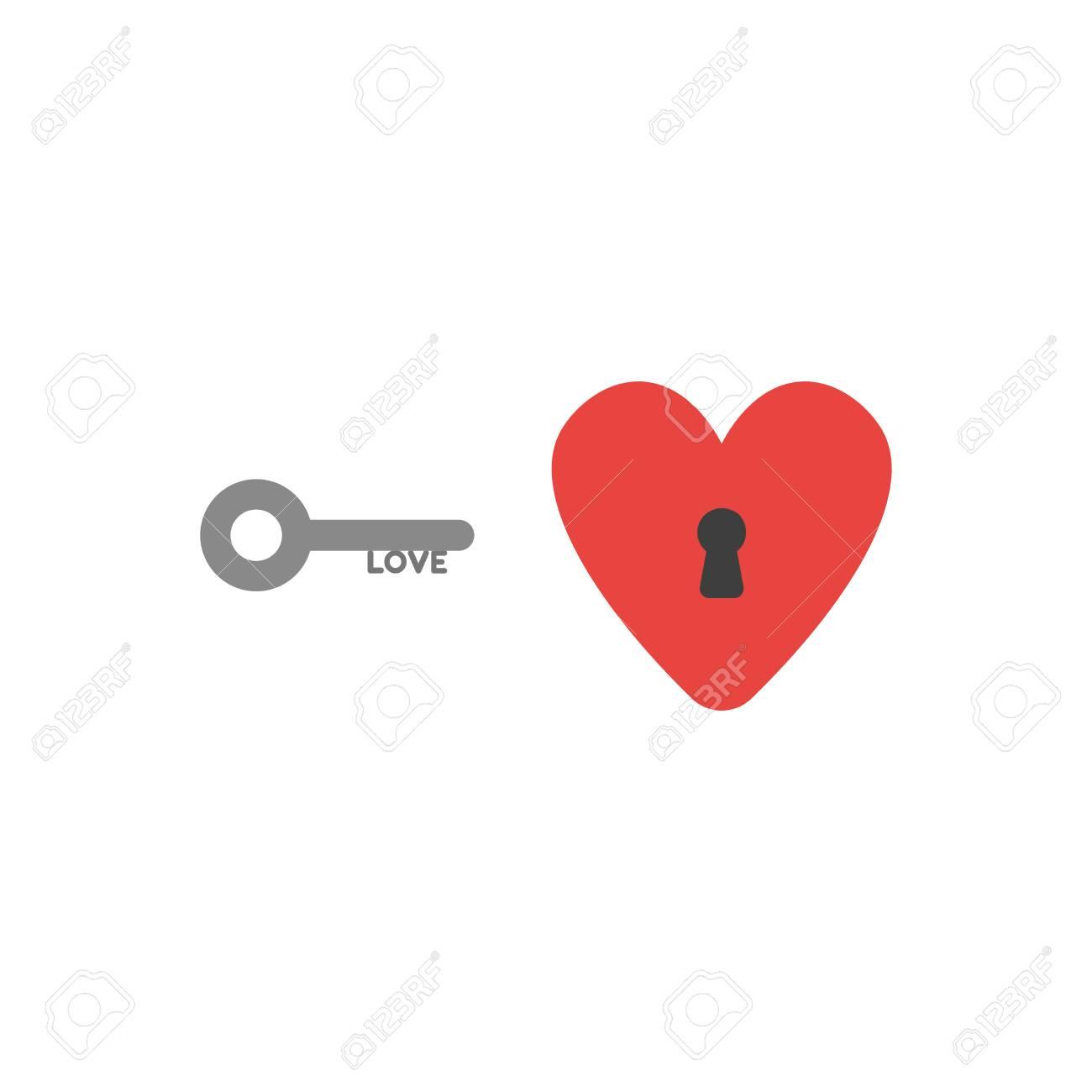 Flat Design Style Vector Illustration Concept Of Grey Love Key