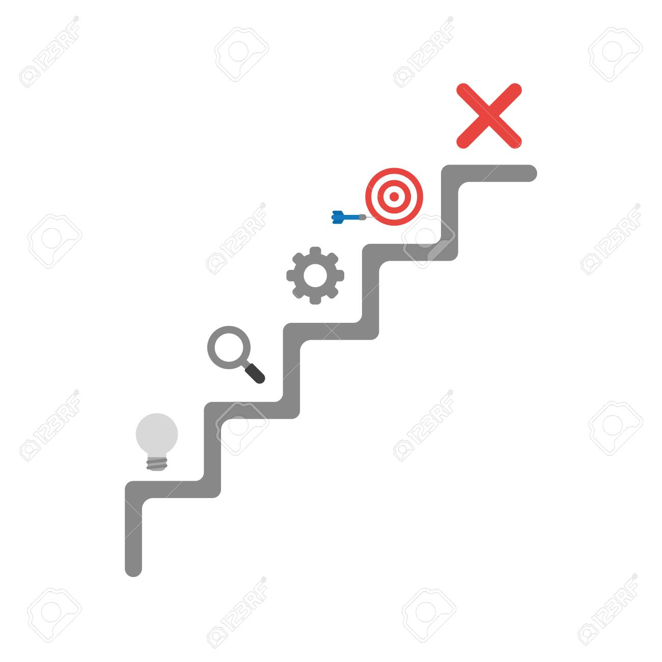 Flat design vector illustration concept of grey stairs with light x mark symbol icon flat design vector illustration concept of grey stairs with light bulb magnifying glass gear buycottarizona