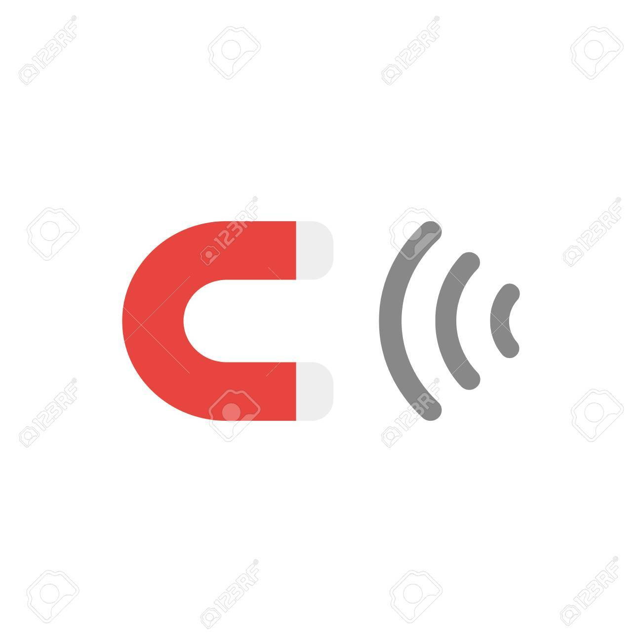Flat Design Vector Illustration Of Red And Grey Magnet Symbol ...