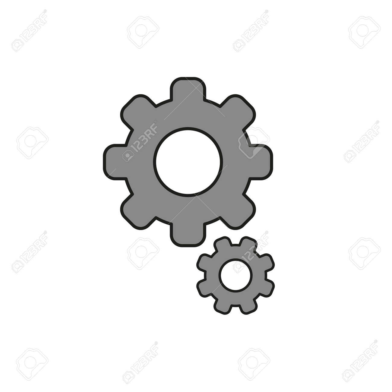 Flat design style vector illustration of gears symbol icon on white background. Colored, black outlines. - 125799575